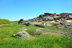 Muchas piedras enormes en la estepa Santuario antiguo Archaeolo Foto de archivo libre de regalías