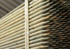 Muchas pilas de madera redonda apiladas Imagen de archivo