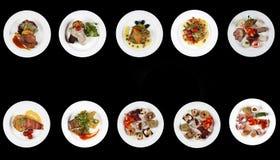 Muchas placas de la comida, espacio de la copia fotografía de archivo
