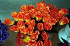 Muchas rosas en estilo análogo de la fotografía del piso Foto de archivo libre de regalías
