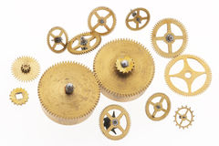 Muchas ruedas dentadas de oro viejas Fotografía de archivo
