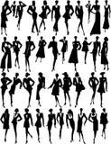 Muchas siluetas de la mujer Imagen de archivo libre de regalías