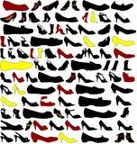 Muchas siluetas de zapatos Imágenes de archivo libres de regalías