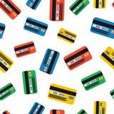Muchas tarjetas de crédito coloridas en blanco Imagen de archivo