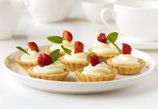 Muchas tortas o mini tarta con las frutas frescas, la crema azotada y las mentas Foto de archivo libre de regalías