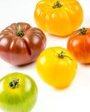Muchas variedades de tomates coloridos Fotografía de archivo libre de regalías
