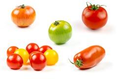 Muchas variedades de tomates coloridos Fotos de archivo
