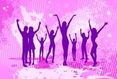 Muchedumbre colorida rosada de baile de la gente de la bandera de la danza Imagenes de archivo