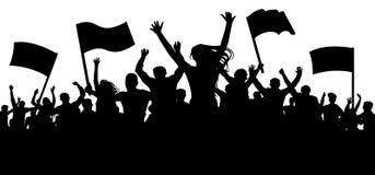 Muchedumbre de gente con las banderas, banderas Aplauso alegre Deportes, multitud, fans stock de ilustración
