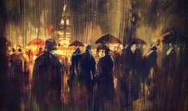 Muchedumbre de gente con los paraguas en la noche libre illustration