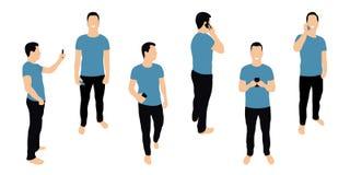 Muchedumbre de gente con smartphones Los hombres, adolescencias, los muchachos jovenes están utilizando smartphones, están mandan ilustración del vector