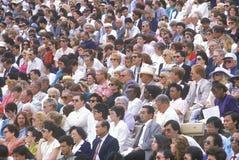 Muchedumbre de gente multicultural en el Rose-Tazón de fuente fotografía de archivo
