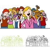 Muchedumbre de gente que usa los teléfonos Fotos de archivo libres de regalías