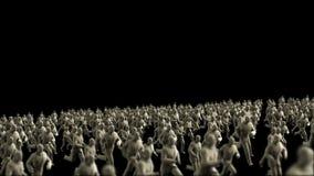 Muchedumbre de hombres de negocios del yeso que corren, mosca de la cámara encima, lazo, cantidad común stock de ilustración