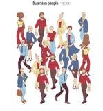 Muchedumbre de la gente Ejemplo del estilo de la historieta de hombres jovenes y de la mujer libre illustration