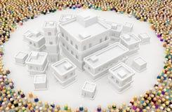 Muchedumbre de la historieta, círculo vacío de la ciudad de los edificios ilustración del vector