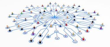 Muchedumbre de la historieta, central de la conexión ilustración del vector