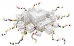 Muchedumbre de la historieta, colas de administración del tráfico de la ciudad de los edificios ilustración del vector