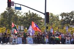 Muchedumbre de la protesta de Israel Palestenian Imagen de archivo