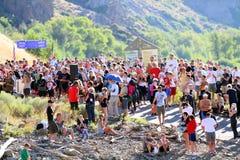 Muchedumbre de la raza del Triathlon Imagen de archivo libre de regalías