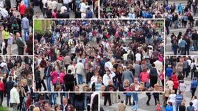 Muchedumbre de montaje de la gente metrajes