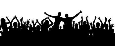 Muchedumbre de silueta de aplauso de la gente Audiencia alegre, vector ilustración del vector