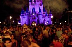 Muchedumbre del castillo de Disney en la noche Imagen de archivo libre de regalías