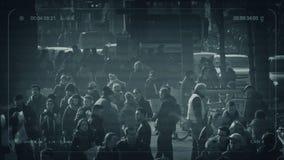 Muchedumbre del CCTV de gente profundamente en ciudad Amsterdam, los Países Bajos, enero de 2019 almacen de metraje de vídeo