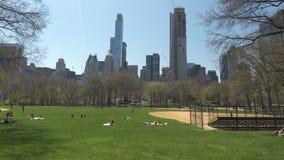 Muchedumbre del Central Park de New York City, los E.E.U.U. que se relaja en hierba metrajes