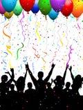 Muchedumbre del partido con los globos Fotos de archivo libres de regalías