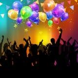 Muchedumbre del partido con los globos y el confeti ilustración del vector