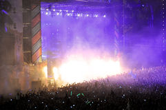 Muchedumbre del partido en un concierto Imagen de archivo