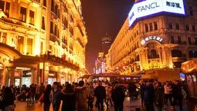 Muchedumbre en el camino Shangai de Nanjing Fotos de archivo