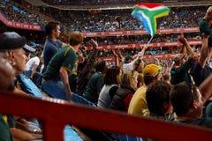 Muchedumbre en el partido del rugbi Foto de archivo libre de regalías