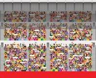 Muchedumbre en gradería cubierta del estadio Ilustración del Vector
