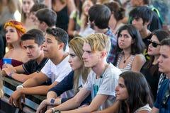 Muchedumbre en un concierto en el festival de Dcode Fotos de archivo libres de regalías
