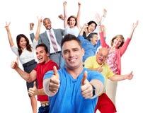 Muchedumbre feliz de la gente imagenes de archivo