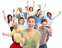 Muchedumbre feliz de la gente fotos de archivo libres de regalías