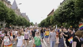 Muchedumbre gay feliz de LGBT que marcha en el orgullo anual en avenida central almacen de video