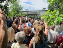 Muchedumbre grande de partidarios Foto de archivo libre de regalías