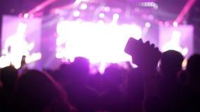 Muchedumbre móvil del concierto almacen de metraje de vídeo
