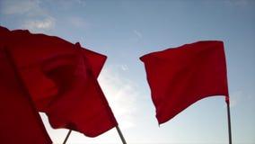 Muchedumbre que agita banderas rojas contra el cielo azul almacen de metraje de vídeo