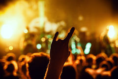 muchedumbre que anima en el concierto Imagen de archivo