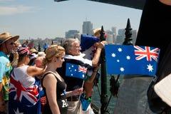 Muchedumbre que celebra el día de Australia. Imagen de archivo