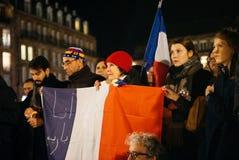 Muchedumbre que escucha el discurso en el centro de Estrasburgo Foto de archivo
