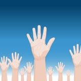 Muchedumbre que levanta las manos libre illustration