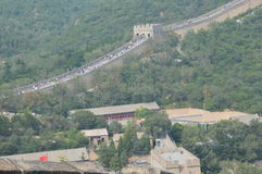 Muchedumbres de gente en la Gran Muralla de China Fotos de archivo libres de regalías