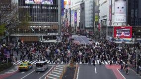 Muchedumbres de gente que camina a través en la calle que cruza famosa de Shibuya en Tokio, Japón almacen de video