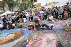 Muchedumbres del festival de la tiza Fotografía de archivo