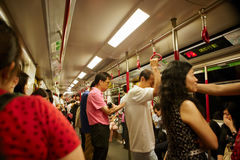 Muchedumbres en el MRT de la cara foto de archivo